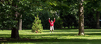 "For 85-year-old Frank Nemeth, of Sarnia exercise is a life long challenge. ""You have to keep in shape,"" he said while doing stretches under the canopy of trees and shade at Germain Park. ""You have to do it for yourself,"" he added. Mr. Nemeth who grew top playing soccer also kicks around a ball to help keep flexible. ""I like coming to the park to read and exercise, he said."