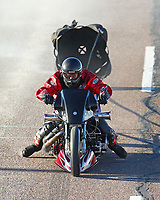 Feb 24, 2018; Chandler, AZ, USA; NHRA nitro harley rider Lyle Newton during qualifying for the Arizona Nationals at Wild Horse Pass Motorsports Park. Mandatory Credit: Mark J. Rebilas-USA TODAY Sports