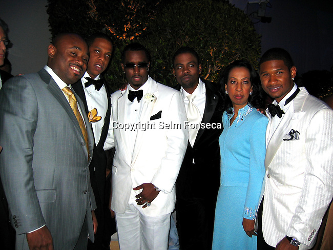 Steve Stout, Jay Z, Sean P. Diddy Combs, Chris Rock, Chris Mother in Law & Usher.**EXCLUSIVE**.2005 Vanity Fair Post Oscar Party.Mortons Restaurant.Beverly Hills, CA, USA .Sunday, February, 27, 2005.Photo By Celebrityvibe.com/Photovibe.com, New York, USA, Phone 212 410 5354, email:sales@celebrityvibe.com.
