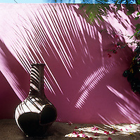 In the garden of this house in Mexico a traditional clay oven is situated by a pink painted garden wall with dramatic shadows cast by an adjacent palm tree