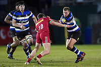 Jack Walker of Bath United takes on the Harlequins A defence. Aviva A-League match, between Bath United and Harlequins A on March 26, 2018 at the Recreation Ground in Bath, England. Photo by: Patrick Khachfe / Onside Images