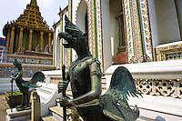 Mythical gryphons guard The Grand Palace and Temple complex, Bangkok, Thailand
