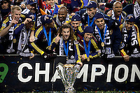 Kyle Beckerman celebrates with teammates after Real Salt Lake defeated the LA Galaxy 5-4 on penalty kicks to win the 2009 MLS Cup Championships in Seattle, WA, Sunday, Nov. 22, 2009.