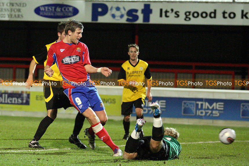 Adam Cunnington of Dagenham and Redbridge scores the opening Daggers goal - Dagenham vs Stanway Rovers - at the London Borough of Barking and Dagenham Stadium - 06/12/11 - MANDATORY CREDIT: Dave Simpson/TGSPHOTO - Self billing avpplies where appropriate - 0845 094 6026 - contact@tgsphoto.co.uk - NO UNPAID USE