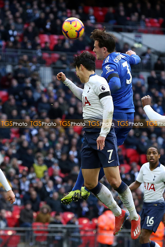 Ben Chilwell of Leicester City and Son Heung-Min of Tottenham Hotspur during Tottenham Hotspur vs Leicester City, Premier League Football at Wembley Stadium on 10th February 2019