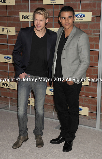 =Culver City=, CA - SEPTEMBER 10: Chord Overstreet and Jacob Artist arrive at the FOX Fall Eco-Casino Party at The Bookbindery on September 10, 2012 in Culver City, California.