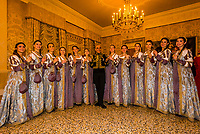 """A tradition of the Venice Carnival is the """"Festa delle Marie"""" where 12 beautiful Venetian girls wearing dresses recalling the Golden Age of the Venetian Republic compete to be named the winner Maria of the Venice Carnival at the Le Fenice Theater, Venice, Italy."""