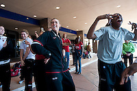 NORFOLK, VA--Joslyn Tinkle and Nneka Ogwumike dance to the songs performed by the band before heading to the first round matchup against Hampton University at the Ted Constant Convocation Center at Old Dominion University in Norfolk, VA for the 2012 NCAA Championships.