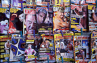 Lucha Libre and wrestling magazines for sale outside the Colisseo arena.  Mexico City 11-06