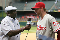 Philadelphia Phillies pitcher Roy Halladay is interviewed by broadcaster Gary Mathews after winning against the Houston Astros on Sunday April 11th, 2010 at Minute Maid Park in Houston, Texas.  (Photo by Andrew Woolley / Four Seam Images)