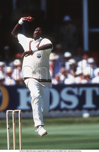 CURTLEY AMBROSE bowls, England WEST INDIES, Lords Test, 950626. Photo: Glyn Kirk/ Action Plus....1995.cricket.Bowler.bowling