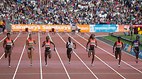 The Women's 100m Final during the Sainsbury's Anniversary Games, Athletics event at the Olympic Park, London, England on 25 July 2015. Photo by Andy Rowland.