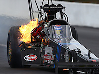 Mar 14, 2015; Gainesville, FL, USA; NHRA top fuel driver Cory McClenathan on fire after an explosion during qualifying for the Gatornationals at Auto Plus Raceway at Gainesville. Mandatory Credit: Mark J. Rebilas-