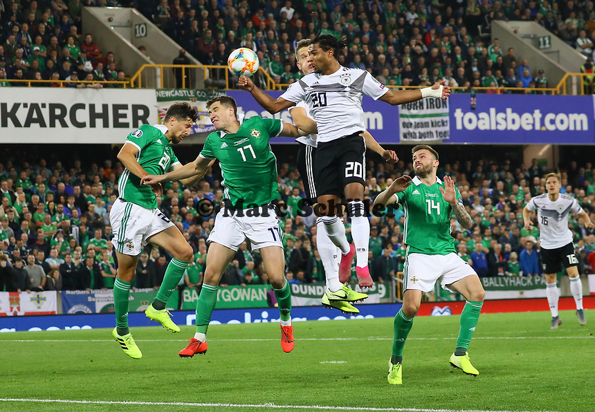 Serge Gnabry (Deutschland Germany) mit einer Chance - 09.09.2019: Nordirland vs. Deutschland, Windsor Park Belfast, EM-Qualifikation DISCLAIMER: DFB regulations prohibit any use of photographs as image sequences and/or quasi-video.