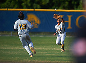 Lakewood Spartans outfielder Julian Jackson (9) catches a fly ball as Bo Bichette (19) backs up the play during a game against the Boca Ciega Pirates at Boca Ciega High School on March 2, 2016 in St. Petersburg, Florida.  (Copyright Mike Janes Photography)