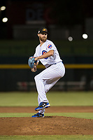 Mesa Solar Sox relief pitcher Bailey Clark (35), of the Chicago Cubs organization, delivers a pitch during an Arizona Fall League game against the Scottsdale Scorpions at Sloan Park on October 10, 2018 in Mesa, Arizona. Scottsdale defeated Mesa 10-3. (Zachary Lucy/Four Seam Images)