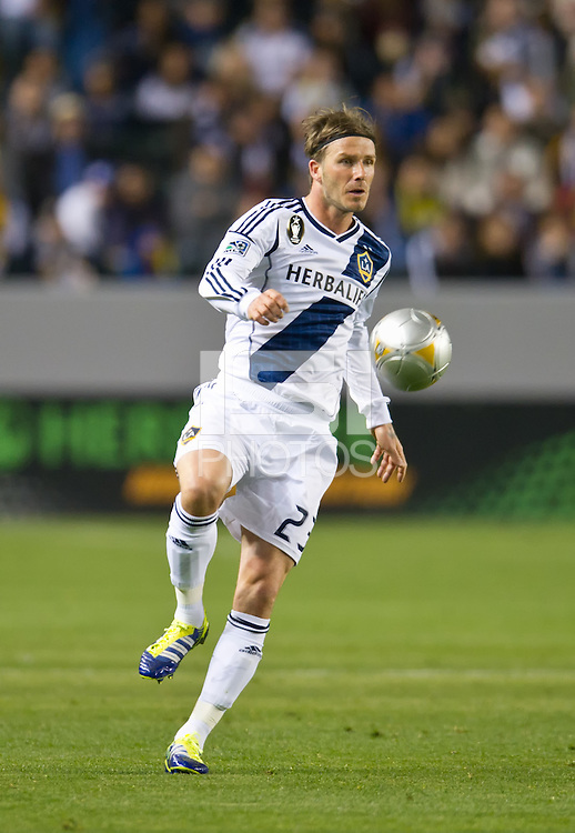 CARSON, CA - March 10,2012: LA Galaxy midfielder David Beckham (23) against Real Salt Lake at the Home Depot Center in Carson, California. Final score LA Galaxy 1, Real Salt Lake 3.