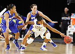 SIOUX FALLS, SD - MARCH 5:  Alexis Alexander #1 of South Dakota State and De'Jour Young #13 of Fort Wayne go for the ball with another Fort Wayne defender looking on in the 2016 Summit League Tournament. (Photo by Dick Carlson/Inertia)