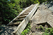 A wooden trail ladder on Lion Head Trail during the summer months in the White Mountains of New Hampshire USA