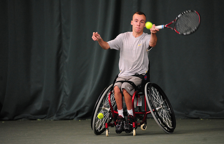 Andrew Lapthorne (GBR) [1] in action against Richard Green (GBR) in their Quad Singles RR3 game..Tennis - ITF Nottingham Indoor Wheelchair Tennis Tournament - Saturday 27th October 2012 - Nottingham Tennis Centre - Nottingham..©Tennis Foundation/James Jordan..www.tennisfoundation.org.uk.info@tennisfoundation.org.uk