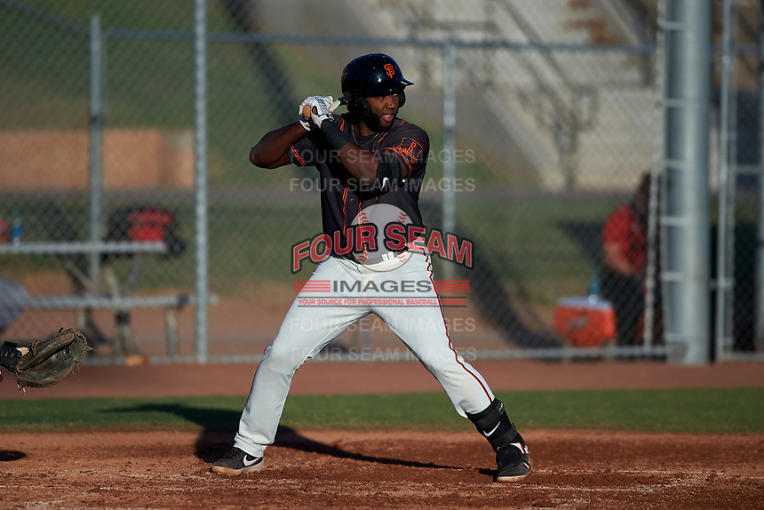 AZL Giants Black Sandro Fabian (14) at bat during a rehab assignment in an Arizona League game against the AZL Angels at the Giants Baseball Complex on June 21, 2019 in Scottsdale, Arizona. AZL Angels defeated AZL Giants Black 6-3. (Zachary Lucy/Four Seam Images)