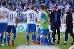 Jens H&auml;rtel (Magdeburg, Trainer) gibt Anweisungen, gestikuliert mit den Armen, gesticulate, gives instructions Jubel, Torjubel, jubelt &uuml;ber das Tor, celebrate the goal, celebration beim Spiel in der 3. Liga, 1. FC Magdeburg - Karlsruher SC.<br /> <br /> Foto &copy; PIX-Sportfotos *** Foto ist honorarpflichtig! *** Auf Anfrage in hoeherer Qualitaet/Aufloesung. Belegexemplar erbeten. Veroeffentlichung ausschliesslich fuer journalistisch-publizistische Zwecke. For editorial use only.