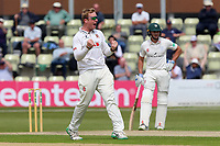 Simon Harmer of Essex celebrates taking the wicket of Travis Head during Worcestershire CCC vs Essex CCC, Specsavers County Championship Division 1 Cricket at Blackfinch New Road on 12th May 2018