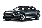 Stock pictures of low aggressive front three quarter view of 2019 KIA K900 Luxury 4 Door Sedan Low Aggressive