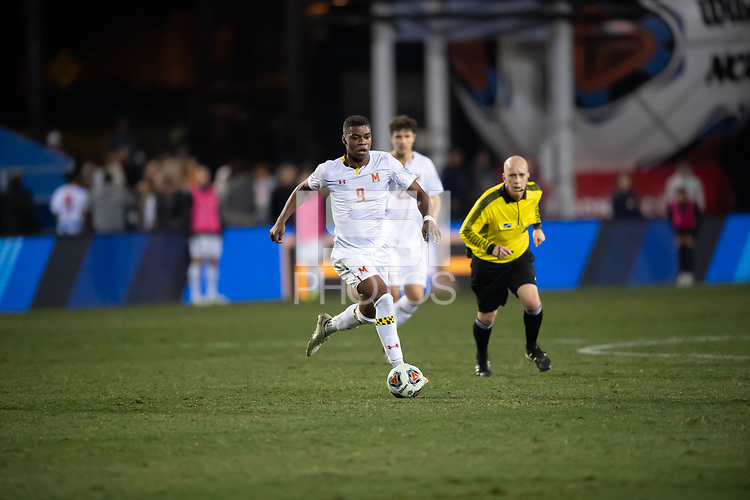Santa Barbara, CA - Friday, December 7, 2018:  Maryland men's soccer defeated Indiana 2-0 in a semi-final match in the 2018 College Cup.  Sebastian Elney.