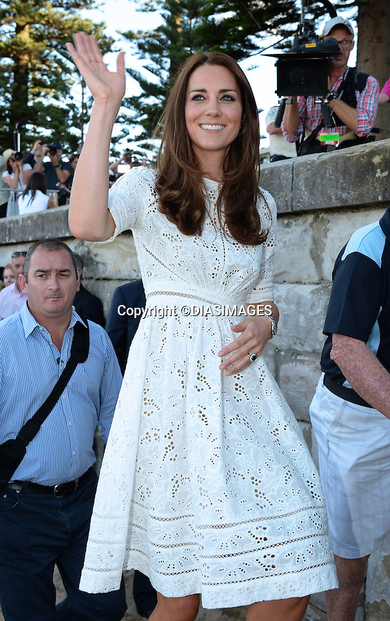 &quot;NO UK USAGE UNTIL 16th May 2014(28 Days)&quot;<br /> <br /> 18.04.2014; Manly Beach, Sydney: KATE AND PRINCE WILLIAM VISIT MANLY BEACH<br /> The Royal couple visited Sydney's famous beach to watch a number of activities and meet with the local life surfers. They were accompanied by Prime Minister Tony Abbott. Despite being on a beach the Royal Couple decided to keep their shoes on. Kate's decision to walk on the beach in her wedges drew criticism.<br /> They were also presented with a surf board for Prince George<br /> Mandatory Photo Credit: &copy;Dias/DIASIMAGES<br /> <br /> <br /> IMMEDIATE CONFIRMATION OF USAGE REQUIRED:<br /> DiasImages, 31 Chinnery Hill, Bishop's Stortford, ENGLAND CM23 3PS<br /> Tel:+441279 324672  ; Fax: +441279656877<br /> Mobile:  0777568 1153