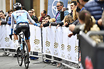 Matteo Badilatti (SUI) Israel Cycling Academy arrives at sign on before the start of Stage 3 of Il Giro di Sicilia running 186km from Caltanissetta to Ragusa, Italy. 5th April 2019.<br /> Picture: LaPresse/Fabio Ferrari | Cyclefile<br /> <br /> <br /> All photos usage must carry mandatory copyright credit (&copy; Cyclefile | LaPresse/Fabio Ferrari)