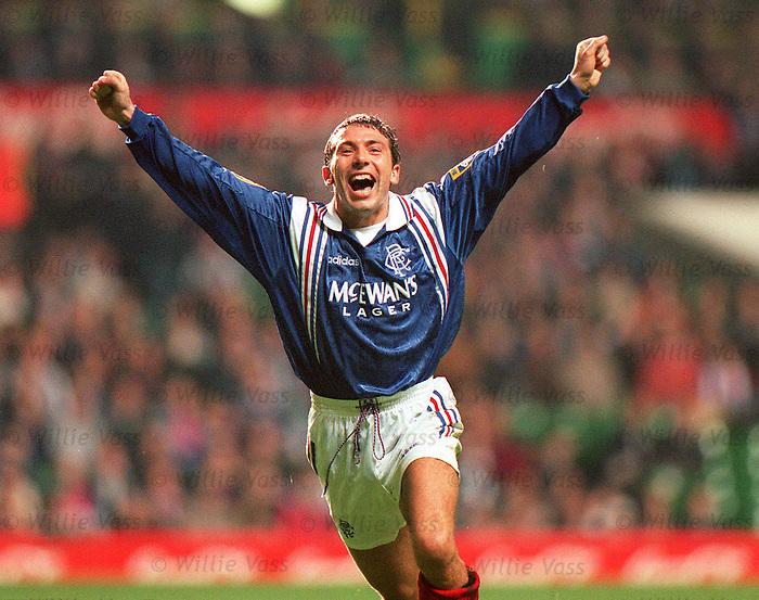 Derek McInnes celebrates his goal at Celtic Park for Rangers v Dunfermline in the Coca-Cola Cup