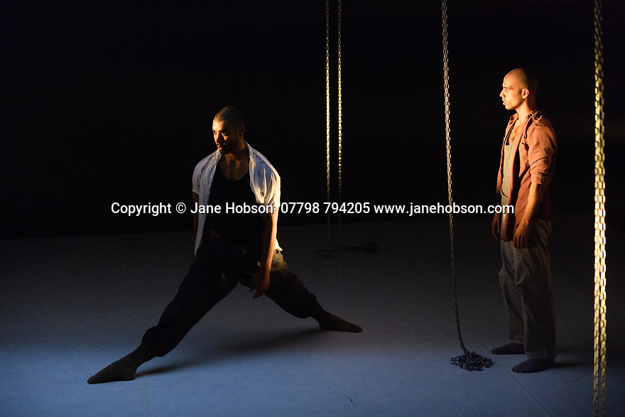 London, UK. 04.04.2017. 2Faced Dance Company, presents FROM ABOVE, choreographed by artistic director, Tamsin Fiztgerald, as part of a triple bill, entitled 'Run', at The Place, London. The dancers are: Jason Boyle, Louis Parker-Evans, Kai Tomioka, Ed Warner. Photograph © Jane Hobson.