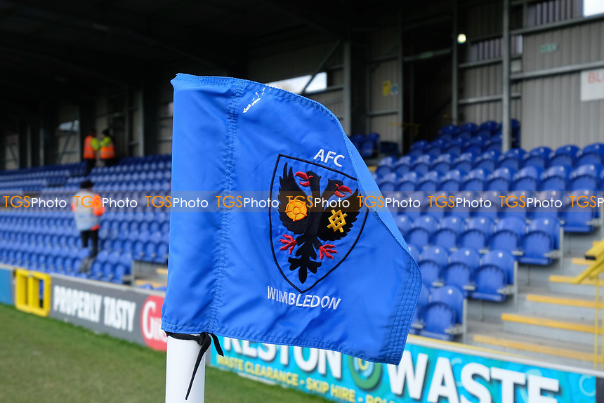 Corner flag ahead of General view of AFC Wimbledon vs Burton Albion, Sky Bet EFL League 1 Football at the Cherry Red Records Stadium on 9th February 2019