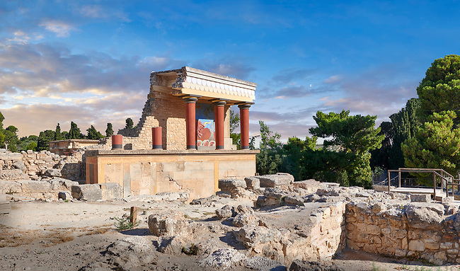 Minoan  North Entrance Propylaeum with its painted charging  bull releif,  Knossos Palace archaeological site, Crete. At sunset.