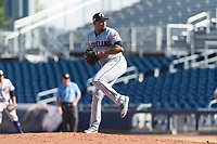 Glendale Desert Dogs relief pitcher Dalbert Siri (39), of the Cleveland Indians organization, delivers a pitch during an Arizona Fall League game against the Peoria Javelinas at Peoria Sports Complex on October 22, 2018 in Peoria, Arizona. Glendale defeated Peoria 6-2. (Zachary Lucy/Four Seam Images)