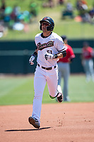 Sacramento RiverCats second baseman Chase D'Arnaud (51) rounds the bases after hitting a home run in the first inning of a Pacific Coast League against the Tacoma Rainiers at Raley Field on May 15, 2018 in Sacramento, California. Tacoma defeated Sacramento 8-5. (Zachary Lucy/Four Seam Images)