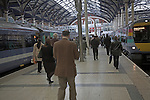 Platform and trains, Liverpool Street railway station, London, England