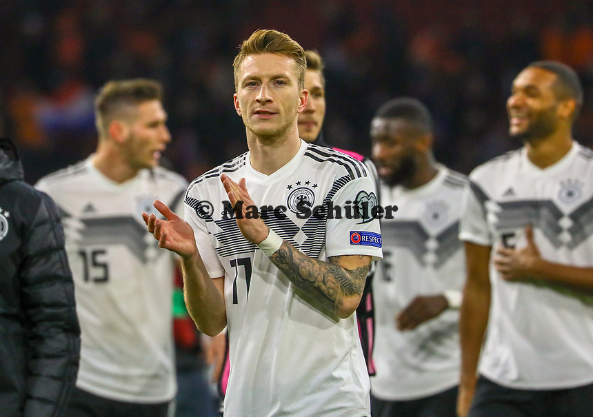 Siegesjubel Marco Reus (Deutschland, Germany) - 24.03.2019: Niederlande vs. Deutschland, EM-Qualifikation, Amsterdam Arena, DISCLAIMER: DFB regulations prohibit any use of photographs as image sequences and/or quasi-video.