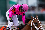 LOUISVILLE, KENTUCKY - MAY 04:  Luis Saez celebrates aboard Maximum Security who crosses the wire first in the Kentucky Derby at Churchill Downs but is later disqualified for interference in Louisville, Kentucky on May 04, 2019. Evers/Eclipse Sportswire/CSM