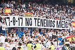Real Madrid's supporters keep silence minute to victims of terrorist attack on Barcelona during XXXVIII Santiago Bernabeu Trophy at Santiago Bernabeu Stadium in Madrid, Spain August 23, 2017. (ALTERPHOTOS/Borja B.Hojas)