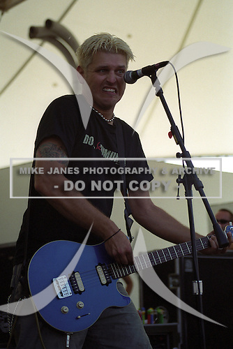 Chris Demakes of Less Than Jake performs at Darien Lakes Performing Arts Center in Darien Center, New York circa August 2002.  Photo Copyright Mike Janes Photography