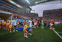Lionel Messi of Argentina leads his side out before kick off
