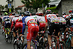 The peloton including French Champion Anthony Roux (FRA) Groupama-FDJ chase the breakaway with 30km to go during Stage 1 of the Criterium du Dauphine 2019, running 142km from Aurillac to Jussac, France. 9th June 2019<br /> Picture: Colin Flockton | Cyclefile<br /> All photos usage must carry mandatory copyright credit (© Cyclefile | Colin Flockton)