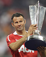 Ryan Giggs #11 of Manchester United with the MVP trophy during the 2010 MLS All-Star match against the MLS All-Stars at Reliant Stadium, on July 28 2010, in Houston, Texas .MANU won 5-2.