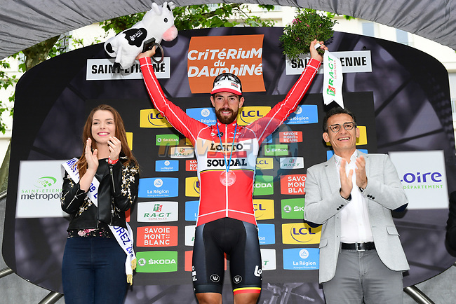 Thomas De Gendt (BEL) Lotto-Soudal wins Stage 1 of the Criterium du Dauphine 2017, running 170.5km from Saint Etienne to Saint Etienne, France. 4th June 2017. <br /> Picture: ASO/A.Broadway | Cyclefile<br /> <br /> <br /> All photos usage must carry mandatory copyright credit (&copy; Cyclefile | ASO/A.Broadway)