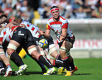 Lewis Ludlow of Gloucester Rugby passes the ball. West Country Challenge Cup match, between Gloucester Rugby and Bath Rugby on September 13, 2015 at the Memorial Stadium in Bristol, England. Photo by: Patrick Khachfe / Onside Images