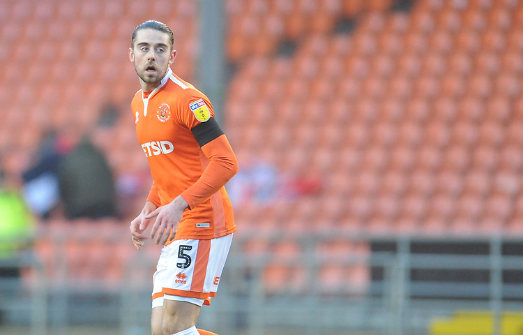 Blackpool's Antony Evans<br /> <br /> Photographer Kevin Barnes/CameraSport<br /> <br /> The EFL Sky Bet League One - Blackpool v Walsall - Saturday 9th February 2019 - Bloomfield Road - Blackpool<br /> <br /> World Copyright &copy; 2019 CameraSport. All rights reserved. 43 Linden Ave. Countesthorpe. Leicester. England. LE8 5PG - Tel: +44 (0) 116 277 4147 - admin@camerasport.com - www.camerasport.com
