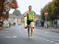 26/10/2015; 2015 SSE Airtricity Dublin Marathon, St Laurence's Road, Dublin. <br /> Barry Minnock of Rathfarnham AC<br /> Picture credit: Tommy Grealy/actionshots.ie.