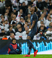 Tammy Abraham (Swansea City on loan from Chelsea) of England shows his frustration after a missed opportunity during the International Friendly match between England and Germany at Wembley Stadium, London, England on 10 November 2017. Photo by Andy Rowland.